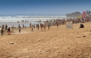 The Portsea back beach during a surf carnival.