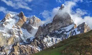 The Latok group (left) and Baintha Brakk, Karakoram mountains, Pakistan.