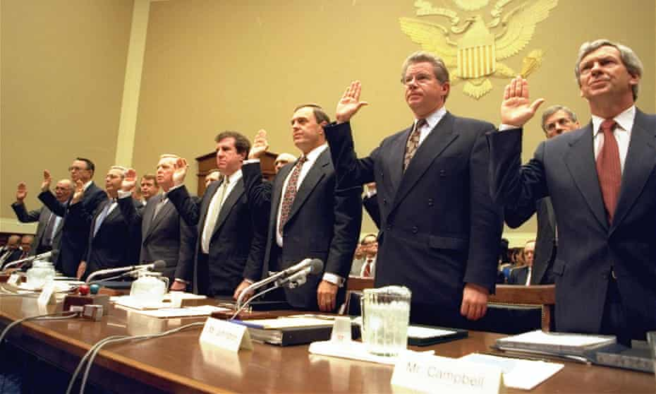 On 14 April 11994, the heads of the nation's largest cigarette companies were sworn in before Congress, where they claimed to believe nicotine was not addictive.