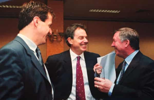Alastair Campbell, Tony Blair and Alex Ferguson before New Labour had won a general election.