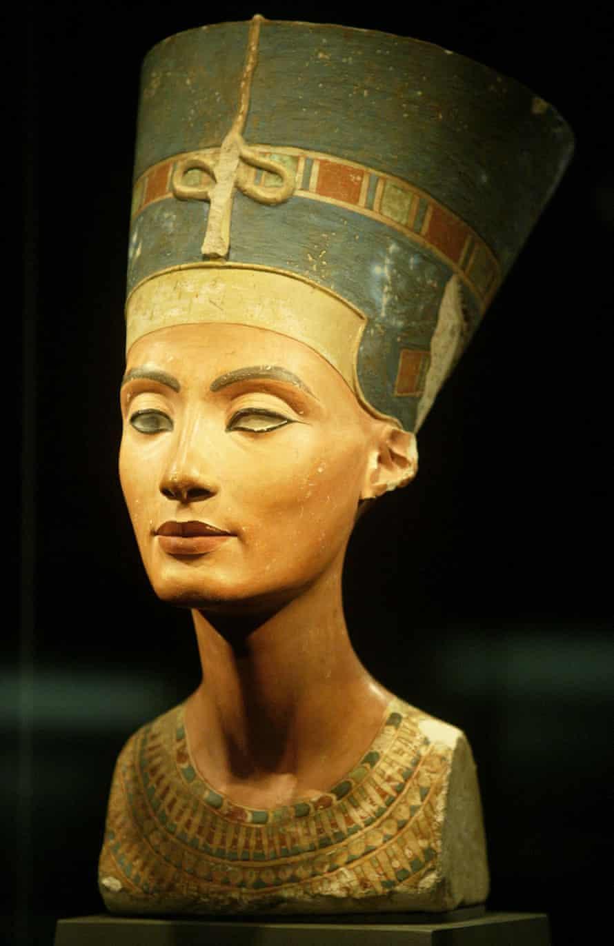 A 3,300-year-old limestone bust of Queen Nefertiti.