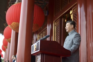 Chinese president Xi Jinping speaks at a ceremony in Beijing