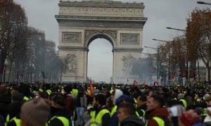 'Gilets Jaunes' protest in Paris, France on 8 Dec 2018.