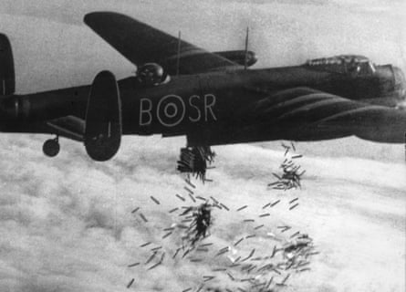 An RAF Lancaster dropping bombs over Duisburg, Germany, October 1944.