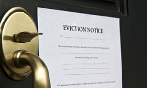 An eviction notice pasted to a door