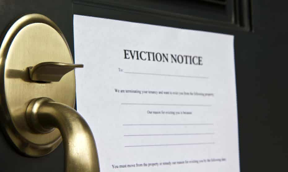 An eviction notice on a front door