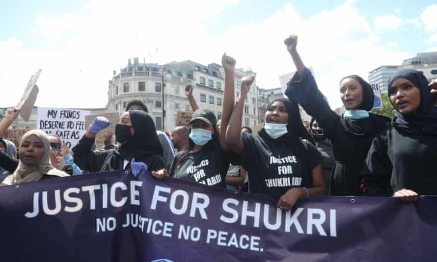 Protesters in central London at an event organised by the Justice4Shukri campaign.