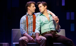 Boys keep singing: Christian Borle as Marvin and Andrew Rannels as Whizzer in Falsettos.