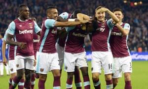 Edimilson Fernandes of West Ham United celebrates scoring.