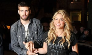 Shakira with her partner, the Barcelona footballer Gerard Piqué.
