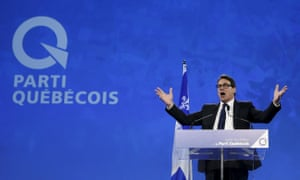 Parti Quebecois leader Pierre Karl Peladeau speaks after being elected during a ceremony at the convention center in Quebec City.