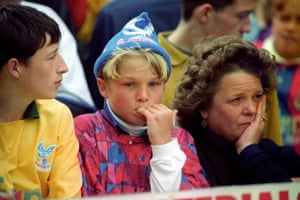 Palace fans at Highbury on the last day of the 1992-93 season.