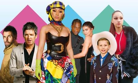 From left: Liam Gallagher; Noel Gallagher; Nicki Minaj; Travis Scott; Kylie Jenner; Mason Ramsey; Bhad Bhabie.