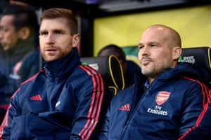 Ljungberg takes his seat for his first game in charge.