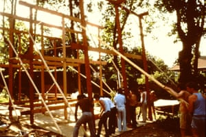 Barn-raising … the self-builders raise one of the house frames in the 1980s