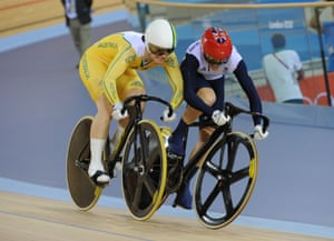 Anna Meares and Victoria Pendleton come together during the first leg of the women's sprint final in London. Pendleton was later stripped of victory in that race for crossing the red sprinter's line and Meares won 2-0 to claim gold.