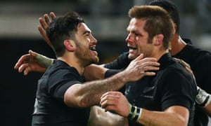 Nehe Milner-Skudder celebrates with Richie McCaw.
