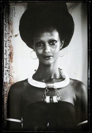 Iman in the Hog Ranch Studio Loo, Kenya, First Photos, April 1975