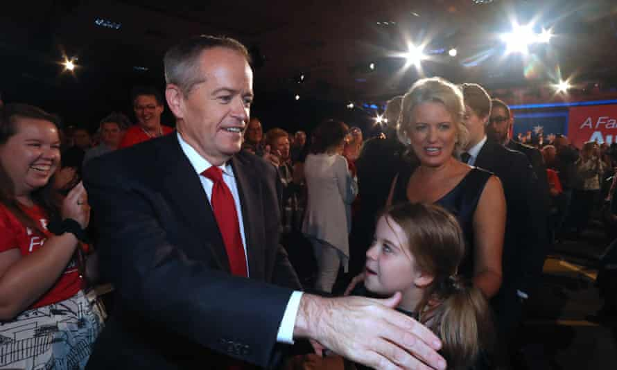 Bill and Chloe Shorten and their family leave after his Brisbane speech.