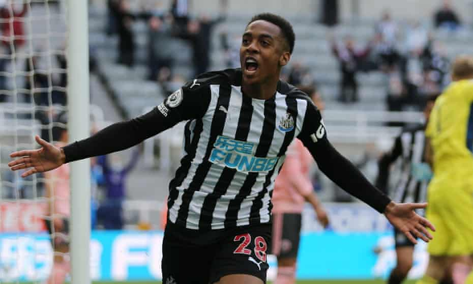 Joe Willock celebrates after scoring for Newcastle against Sheffield United during his loan spell last season.