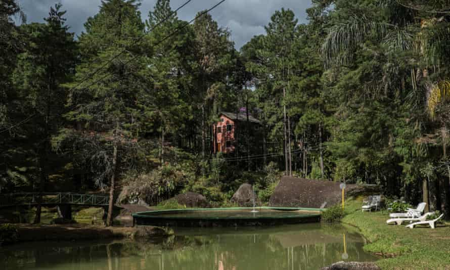POUSO DE ROCHEDO, BRAZIL - MARCH 04, 2017: A view of the Pouso do Rechedo guesthouse. Pouso do Rechedo was built by Antonio Vicente in the Mantiqueria saw. Antonio has spent the last 40 years reforesting his land, bringing life back to an area that was razed for cattle grazing.