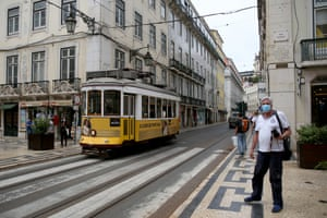 A tram is seen on a street in downtown Lisbon, Portugal, on 18 June, 2021. Portugal's government decided on Thursday to ban the circulation to and from the Metropolitan Area of Lisbon on weekends, from 3 p.m. on Friday, due to the increase in cases of Covid-19 in part of the country.