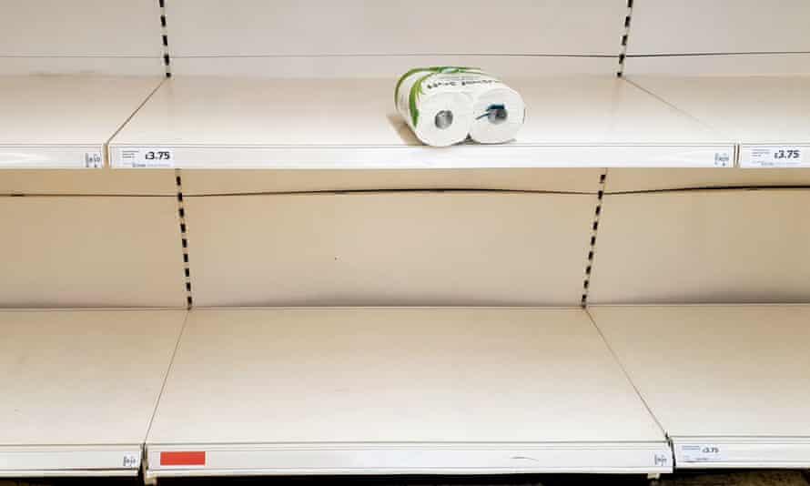 Supermarket shelves are emptying as shoppers stockpile toilet roll.