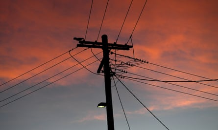 An electricity pole is seen in Sydney