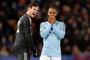 Raheem Sterling reacts after missing.