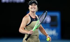 Elina Svitolina celebrates winning match point in her second round match against Coco Gauff.