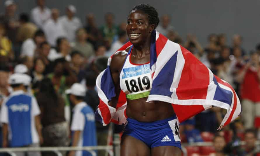 Christine Ohuruogu celebrates after winning gold in the women's 400m at the 2008 Beijing Olympic Games.