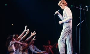 David Bowie on stage at the Universal Amphitheatre, Los Angeles in October 1974.