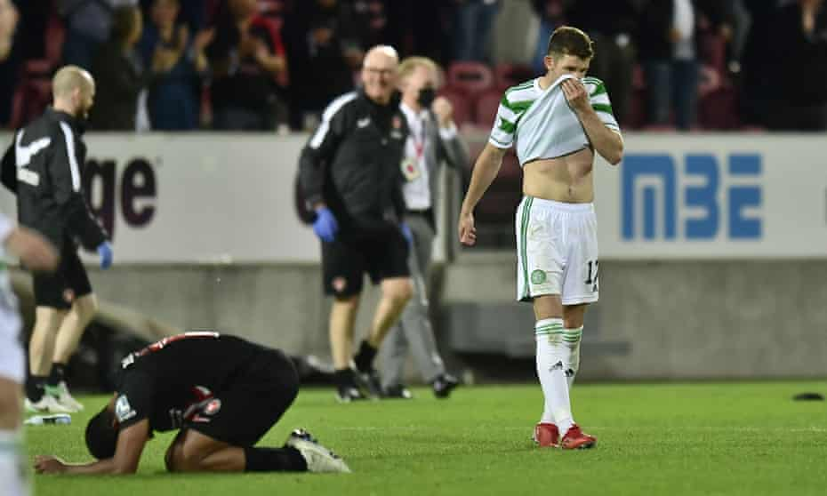 Ryan Christie looks dejected at the final whistle.