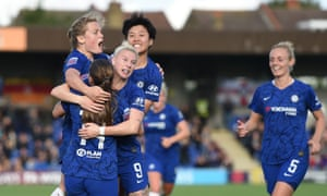 Bethany England (centre) celebrates with her Chelsea teammates after scoring the equaliser.