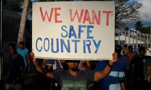 A Manus Island detainee protests conditions on the island.