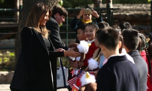 Melania Trump meets Chinese children during a visit to Beijing zoo.