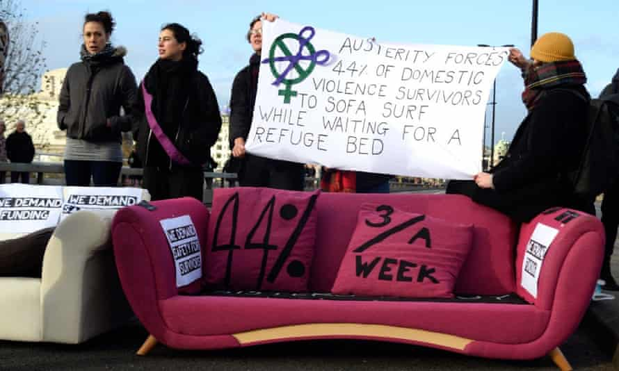Sisters Uncut blockade of Waterloo Bridge. 'We know that 44% of domestic violence survivors are forced to sofa surf while waiting for a refuge space.'