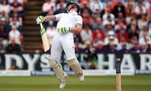 England's Ben Stokes is dismissed by Australia's Mitchell Johnson at Edgbaston.