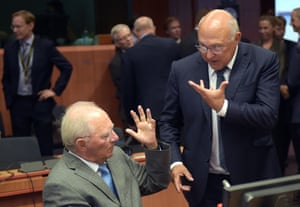 The German and French finance ministers Wolfgang Schäuble (left) and Michel Sapin.