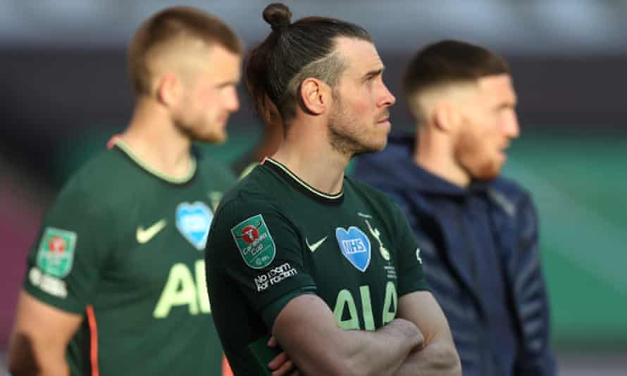 Tottenham's Gareth Bale of Tottenham Hotspur looks dejected after the Carabao Cup final defeat by Manchester City.
