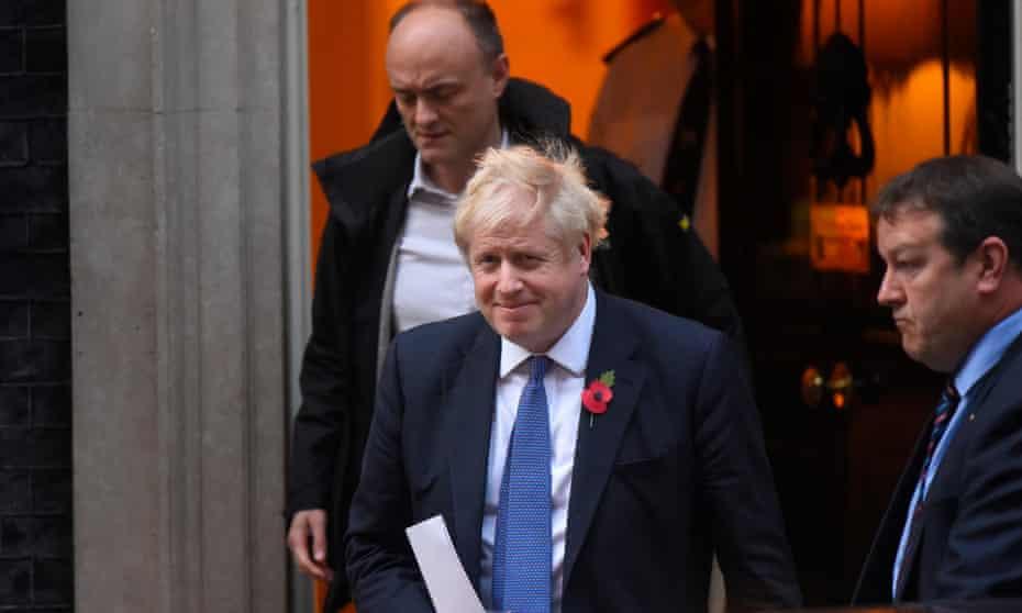 Dominic Cummings and Boris Johnson leaving 10 Downing Street, October 2019