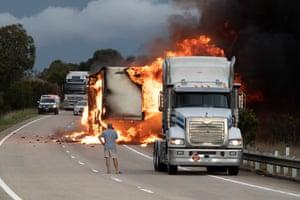A truck fire near Yass, NSW