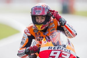 Marc Marquez reacts after finishing 2nd in the MotoGP race of the Dutch Grand Prix, in Assen, Northern Netherlands.