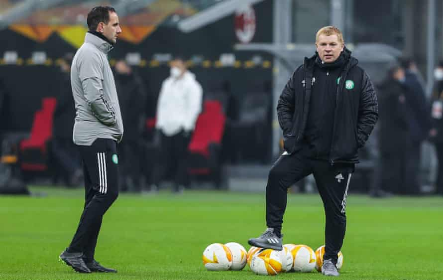 Celtic's manager Neil Lennon (right) and his assistant John Kennedy.