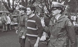 Rodney Croome being arrested for staffing a gay law reform stall in Salamanca Market in 1988