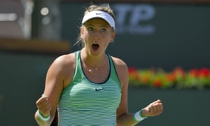 Azarenka can hardly believe it after clinching a straight sets victory.