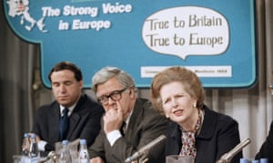 Margaret Thatcher launches the European parliament election campaign in 1984.
