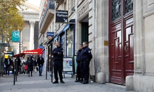 Police outside the apartment where Kim Kardashian West was robbed in Paris in October