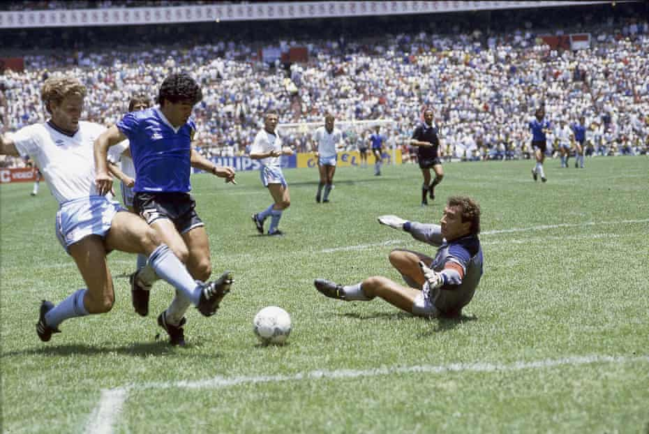 Maradona evades the tackle from Terry Butcher, rounds Peter Shilton and scores his second.