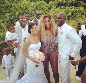 Serena Williams crashes a wedding on Miami beach.